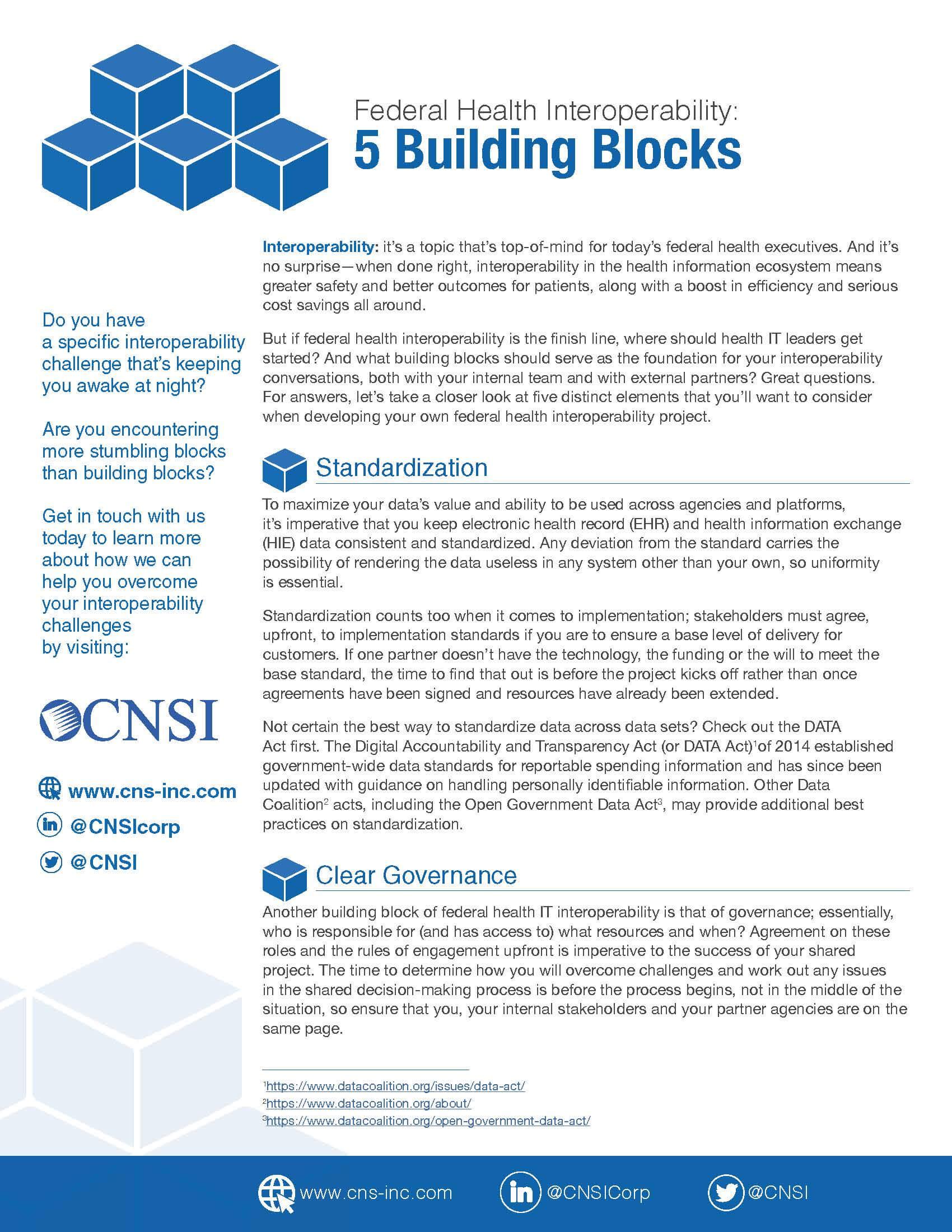 Federal Health Interoperability: 5 Building Blocks